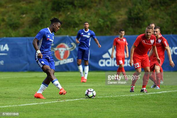 Michy Batshuayi of Chelsea scores his first goal and Chelsea's fourth during a preseason friendly match between Atus Ferlach and Chelsea at Waldarena...