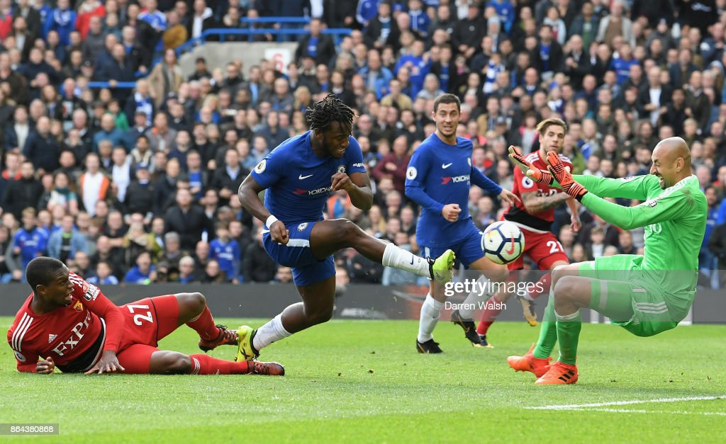 Michy Batshuayi of Chelsea scores his second goal, Chelsea's fourth, during the Premier League match between Chelsea and Watford at Stamford Bridge on October 21, 2017 in London, England.