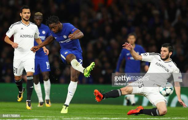 Michy Batshuayi of Chelsea scores his sides fifth goal during the UEFA Champions League Group C match between Chelsea FC and Qarabag FK at Stamford...