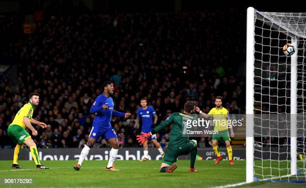 Michy Batshuayi of Chelsea scores his sides first goal during The Emirates FA Cup Third Round Replay between Chelsea and Norwich City at Stamford...