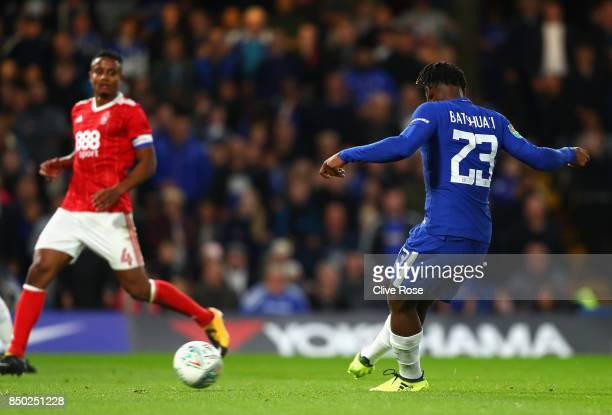 Michy Batshuayi of Chelsea scores his sides fourth goal during the Carabao Cup Third Round match between Chelsea and Nottingham Forest at Stamford...
