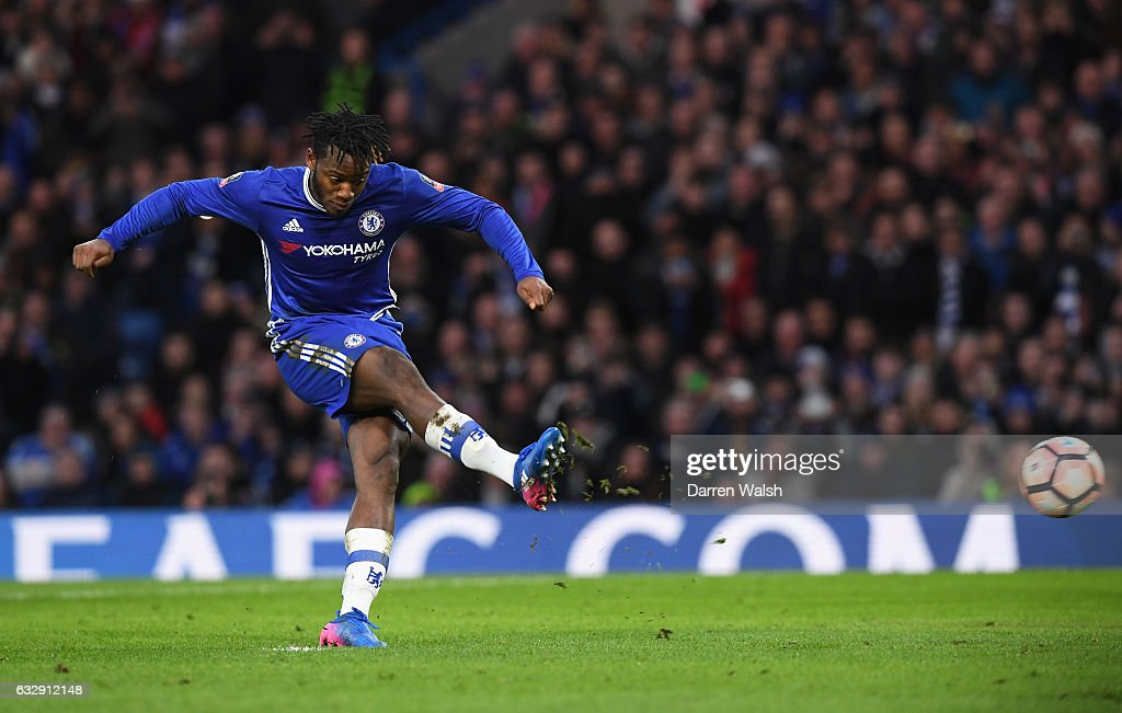 Michy Batshuayi of Chelsea scores his sides fourth goal from the penalty spot during the Emirates FA Cup Fourth Round match between Chelsea and Brentford at Stamford Bridge on January 28, 2017 in London, England.