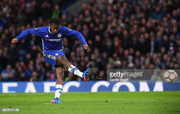 Michy Batshuayi of Chelsea scores his sides fourth goal from the penalty spot during the Emirates FA Cup Fourth Round match between Chelsea and...