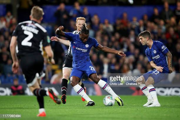 Michy Batshuayi of Chelsea scores his sides second goal during the Carabao Cup Third Round match between Chelsea FC and Grimsby Town at Stamford...