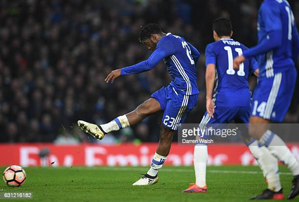 Michy Batshuayi of Chelsea scores his sides second goal during The Emirates FA Cup Third Round match between Chelsea and Peterborough United at...