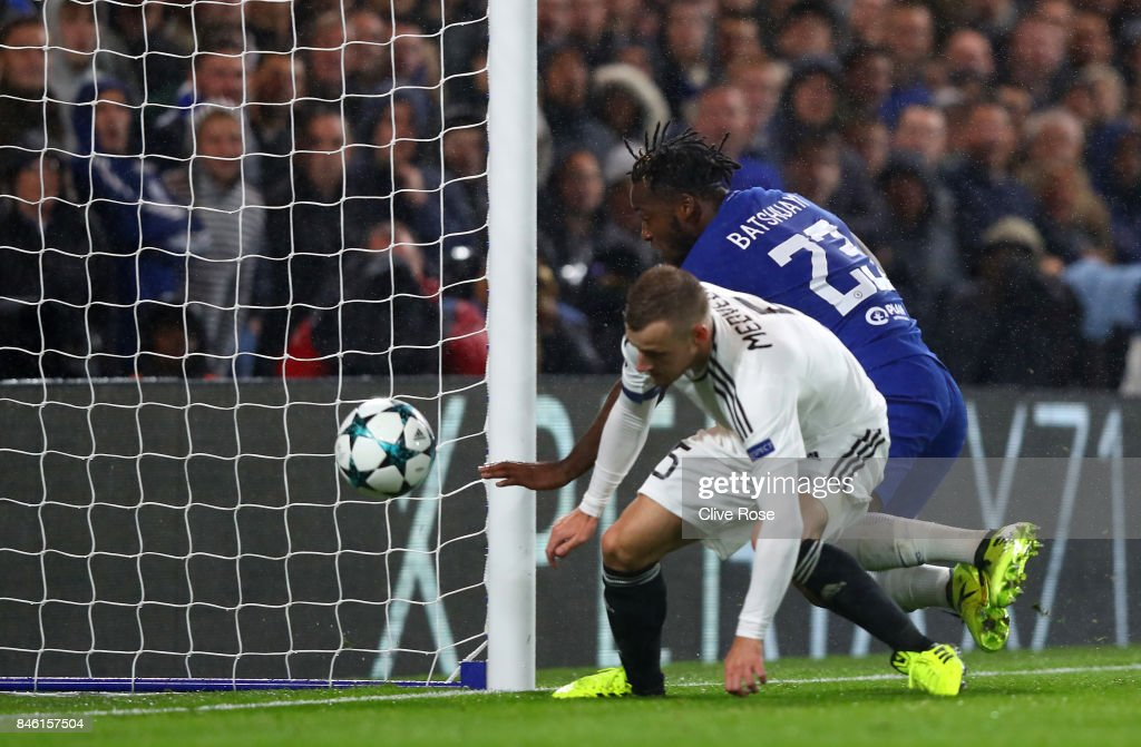 Michy Batshuayi of Chelsea scores his sides sixth goal during the UEFA Champions League Group C match between Chelsea FC and Qarabag FK at Stamford Bridge on September 12, 2017 in London, United Kingdom.