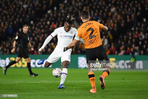 Michy Batshuayi of Chelsea scores his team's first goal during the FA Cup Fourth Round match between Hull City FC and Chelsea FC at KCOM Stadium on...