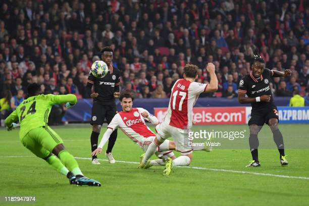 Michy Batshuayi of Chelsea scores his team's first goal during the UEFA Champions League group H match between AFC Ajax and Chelsea FC at Amsterdam...