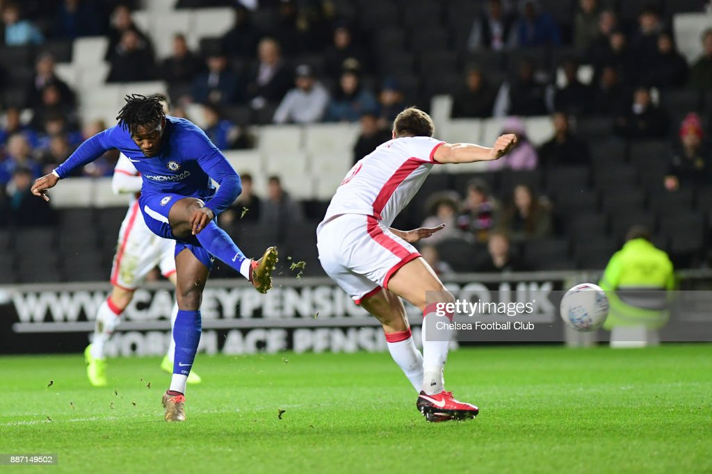 Michy Batshuayi of Chelsea scores the first goal during the Second Round Checkatrade Trophy Match between MK Dons and Chelsea FC at StadiumMK on December 6, 2017 in Milton Keynes, England.