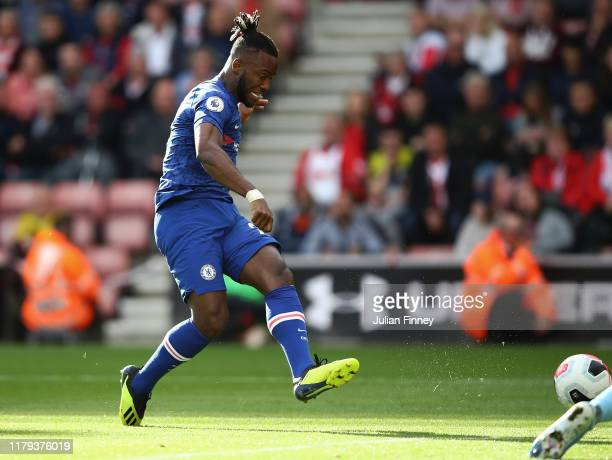 Michy Batshuayi of Chelsea scores their fourth goal during the Premier League match between Southampton FC and Chelsea FC at St Mary's Stadium on...