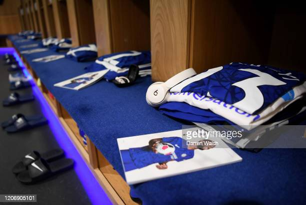 Michy Batshuayi of Chelsea shirt is seen in the changing room prior to the Premier League match between Chelsea FC and Manchester United at Stamford...