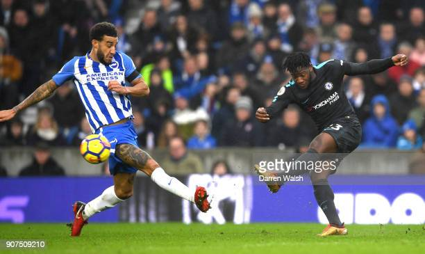 Michy Batshuayi of Chelsea shoots during the Premier League match between Brighton and Hove Albion and Chelsea at Amex Stadium on January 20 2018 in...
