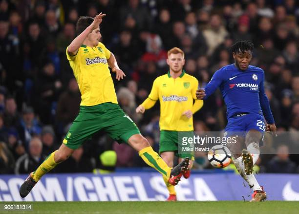 Michy Batshuayi of Chelsea shoots wide during The Emirates FA Cup Third Round Replay between Chelsea and Norwich City at Stamford Bridge on January...
