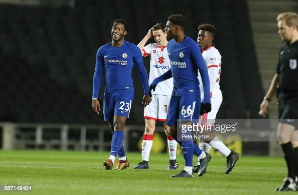 Michy Batshuayi of Chelsea smiles after scoring his sides first goal during the Checkatrade Trophy Second Round match between Milton Keynes Dons and...