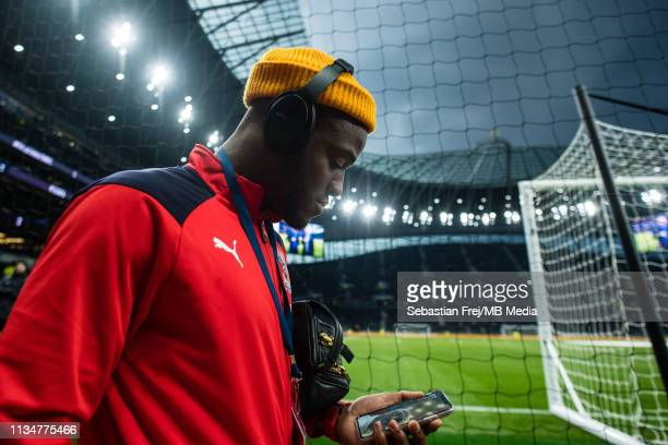 Michy Batshuayi of Crystal Palace arrived for the Premier League match between Tottenham Hotspur and Crystal Palace at Tottenham Hotspur Stadium on...