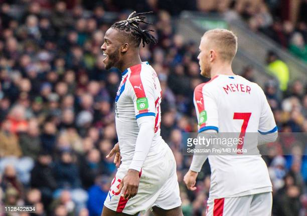 Michy Batshuayi of Crystal Palace celebrate after scoring goal during the Premier League match between Burnley FC and Crystal Palace at Turf Moor on...