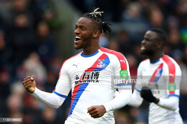Michy Batshuayi of Crystal Palace celebrates after scoring his team's second goal during the Premier League match between Burnley FC and Crystal...