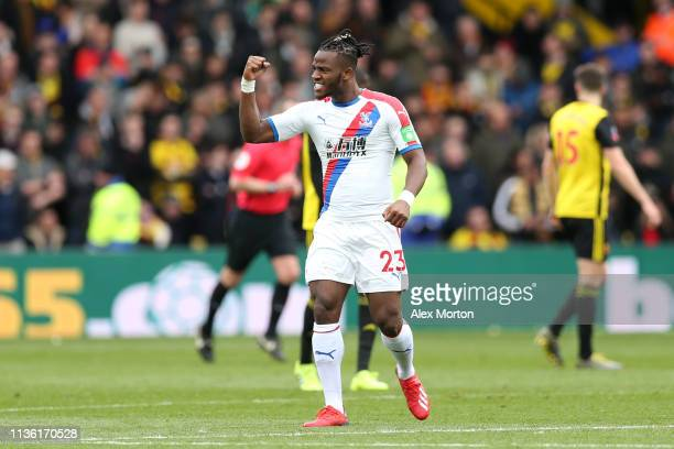 Michy Batshuayi of Crystal Palace celebrates after scoring his team's first goal during the FA Cup Quarter Final match between Watford and Crystal...