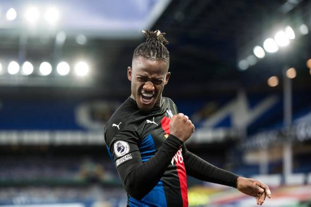 Michy Batshuayi of Crystal Palace celebrates after scoring their first goal during the Premier League match between Everton and Crystal Palace at...