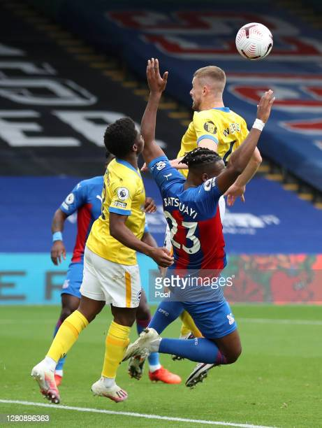Michy Batshuayi of Crystal Palace is fouled by Tariq Lamptey of Brighton and Hove Albion leading to Crystal Palace being awarded a penalty during the...