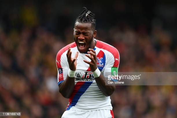 Michy Batshuayi of Crystal Palace reacts during the FA Cup Quarter Final match between Watford and Crystal Palace at Vicarage Road on March 16, 2019...