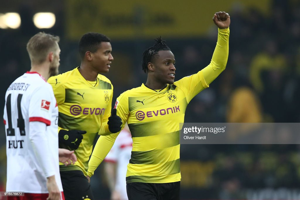 Michy Batshuayi of Dortmund (r) celebrates after he scored a goal to make it 1:0 during the Bundesliga match between Borussia Dortmund and Hamburger SV at Signal Iduna Park on February 10, 2018 in Dortmund, Germany.
