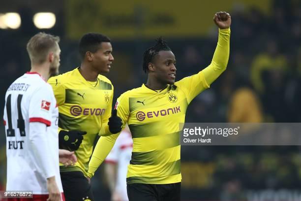 Michy Batshuayi of Dortmund celebrates after he scored a goal to make it 10 during the Bundesliga match between Borussia Dortmund and Hamburger SV at...