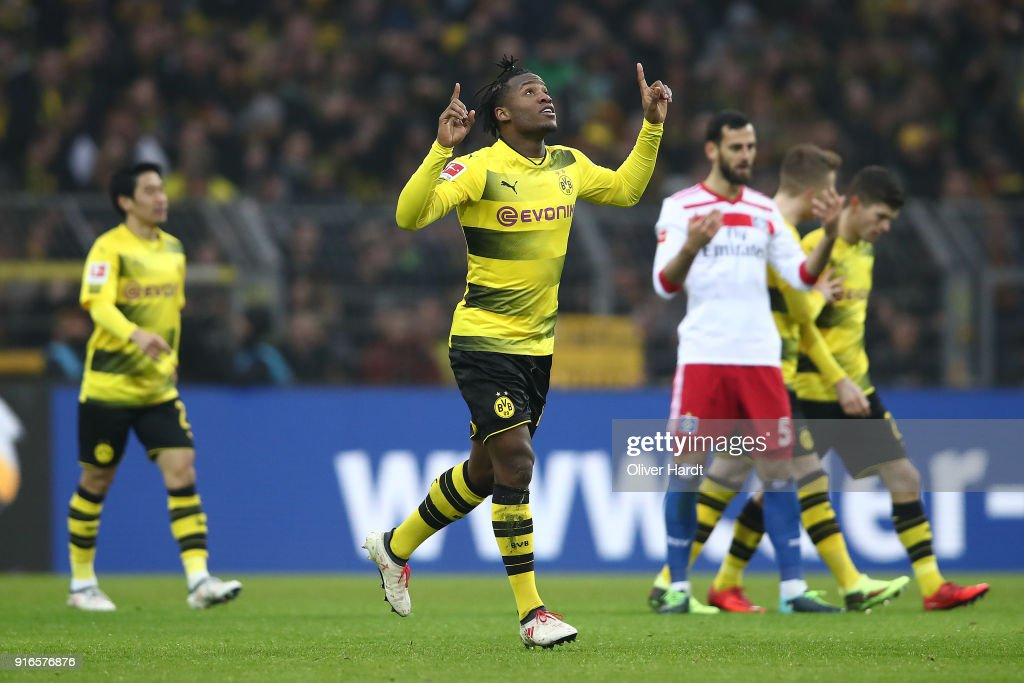 Michy Batshuayi of Dortmund celebrates after he scored a goal to make it 1:0 during the Bundesliga match between Borussia Dortmund and Hamburger SV at Signal Iduna Park on February 10, 2018 in Dortmund, Germany.