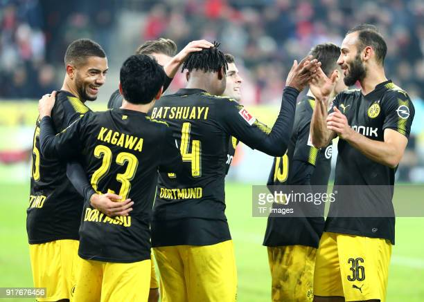 Michy Batshuayi of Dortmund celebrates after scoring his team`s first goal with Jeremy Toljan of Dortmund Shinji Kagawa of Dortmund Lukasz Piszczek...
