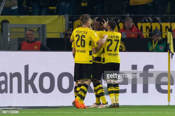 Michy Batshuayi of Dortmund celebrates after scoring his team`s second goal with team mates during the Bundesliga match between Borussia Dortmund and...