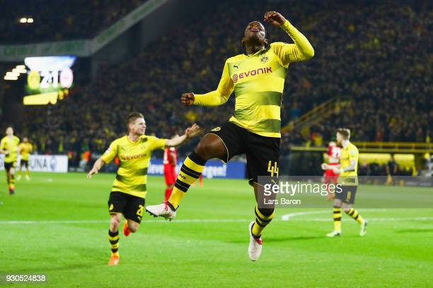 Michy Batshuayi of Dortmund celebrates his team's second goal during the Bundesliga match between Borussia Dortmund and Eintracht Frankfurt at Signal...