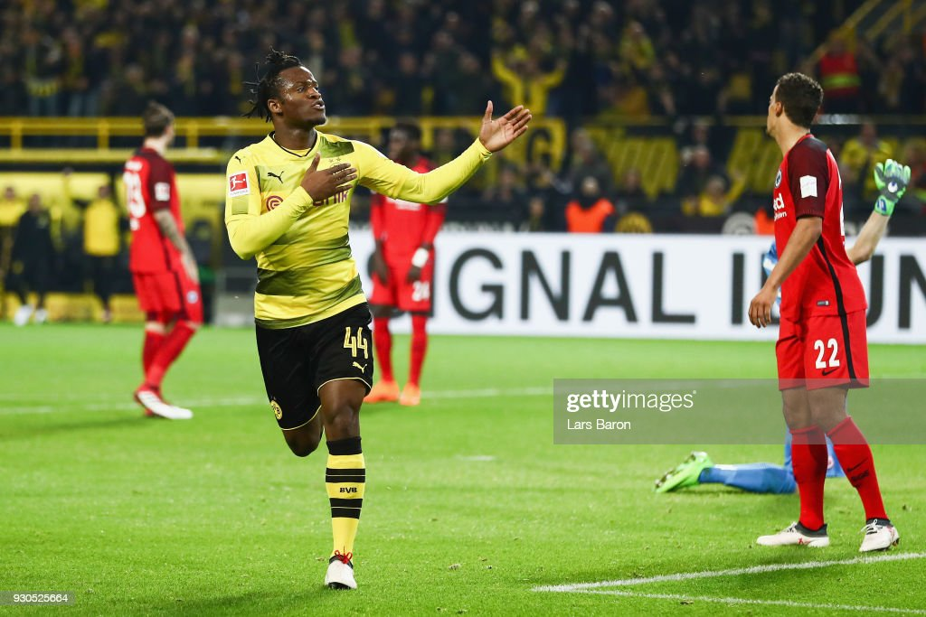 Michy Batshuayi of Dortmund celebrates his team's second goal during the Bundesliga match between Borussia Dortmund and Eintracht Frankfurt at Signal Iduna Park on March 11, 2018 in Dortmund, Germany.