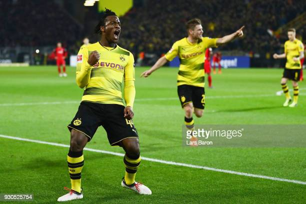 Michy Batshuayi of Dortmund celebrates his team's second goal during the Bundesliga match between Borussia Dortmund and Eintracht Frankfurt at Signal...