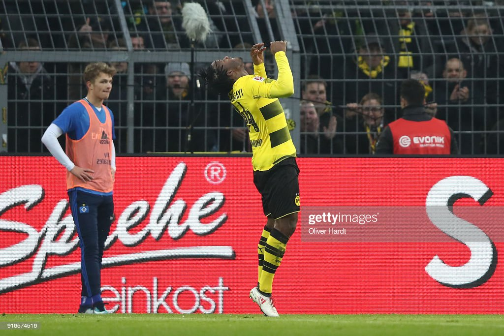 Michy Batshuayi of Dortmund celebrates with a salty after he scored a goal to make it 1:0 during the Bundesliga match between Borussia Dortmund and Hamburger SV at Signal Iduna Park on February 10, 2018 in Dortmund, Germany.