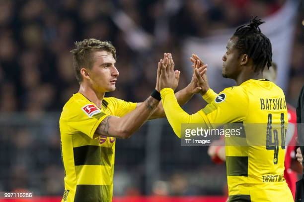 Michy Batshuayi of Dortmund comes on as a substitute for Maximilian Philipp of Dortmund during the Bundesliga match between Borussia Dortmund and...