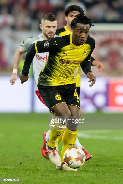 Michy Batshuayi of Dortmund controls the ball during UEFA Europa League Round of 16 second leg match between FC Red Bull Salzburg and Borussia...