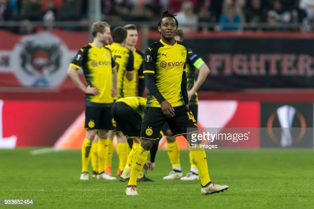 Michy Batshuayi of Dortmund looks on during UEFA Europa League Round of 16 second leg match between FC Red Bull Salzburg and Borussia Dortmund at the...
