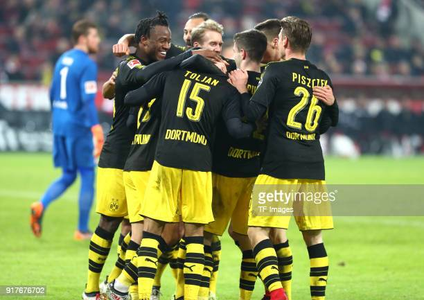 Michy Batshuayi of Dortmund Oemer Toprak of Dortmund Andre Schuerrle of Dortmund Jeremy Toljan of Dortmund Christian Pulisic of Dortmund and Lukasz...