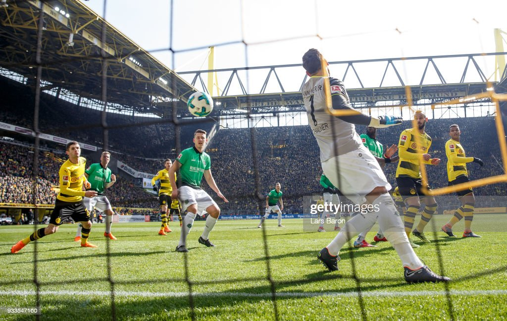Michy Batshuayi of Dortmund (not in the picture) scores his teams first goal during the Bundesliga match between Borussia Dortmund and Hannover 96 at Signal Iduna Park on March 18, 2018 in Dortmund, Germany.