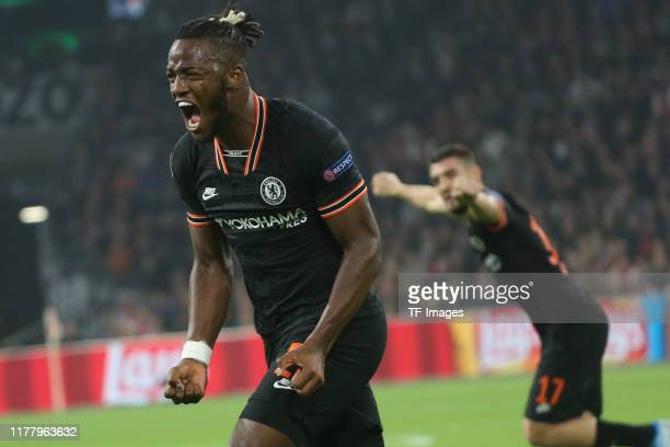 Michy Batshuayi of FC Chelsea celebrates after scoring his goal during the UEFA Champions League group H match between AFC Ajax and Chelsea FC at...