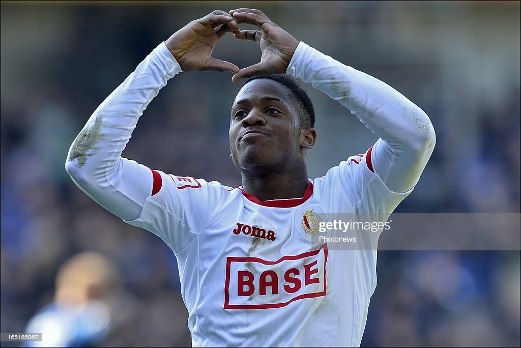 Michy Batshuayi of Standard celebrates scoring a goal during the Jupiler League match between Club Brugge and Standard de Liege on April 01, 2013 in the Jan Breydel Stadium in Brugge, Belgium.