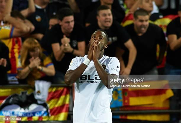 Michy Batshuayi of Valencia reacts during the La Liga match between Valencia CF and FC Barcelona at Estadio Mestalla on October 7 2018 in Valencia...