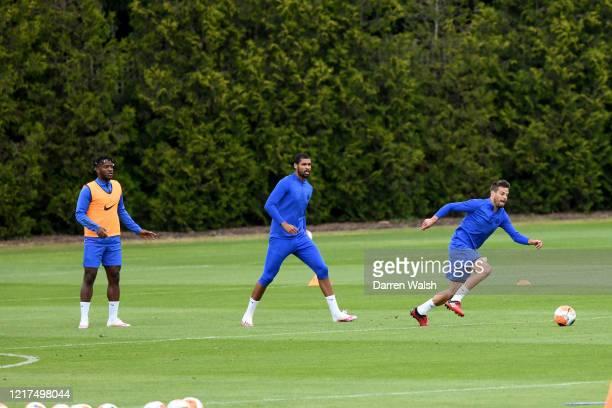 Michy Batshuayi, Ruben Loftus-Cheek and Cesar Azpilicueta of Chelsea during a training session at Chelsea Training Ground on June 4, 2020 in Cobham,...
