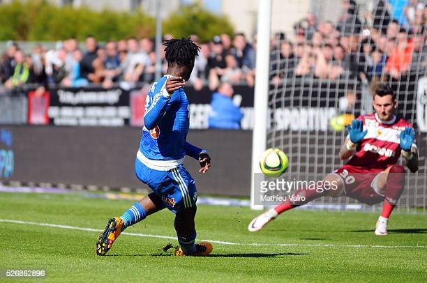 Michy Batshuayi scores during the French Ligue 1 match between Angers SCO and Olympique de Marseille on May 1 2016 in Angers France