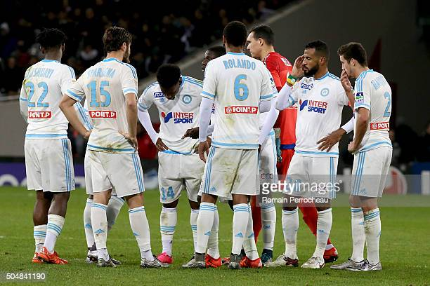 Michy Batshuayi Stephane Sparagna George Kevin Nkoudou Rolando Yohann Pele Alaixys Romao and Javier Manquillo for Marseille during the French League...