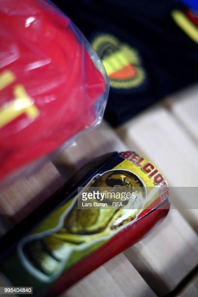 Michy Batshuayi's shinpads are seen inside the Belgium dressing room prior to the 2018 FIFA World Cup Russia Semi Final match between Belgium and...