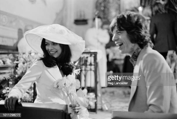 Mick and Bianca Jagger at their wedding at the Church of St Anne St Tropez 12th May 1971