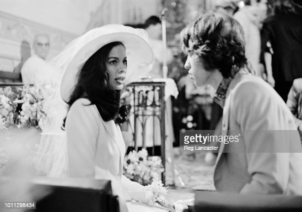 Mick and Bianca Jagger at their wedding at the Church of St. Anne, St Tropez, 12th May 1971.