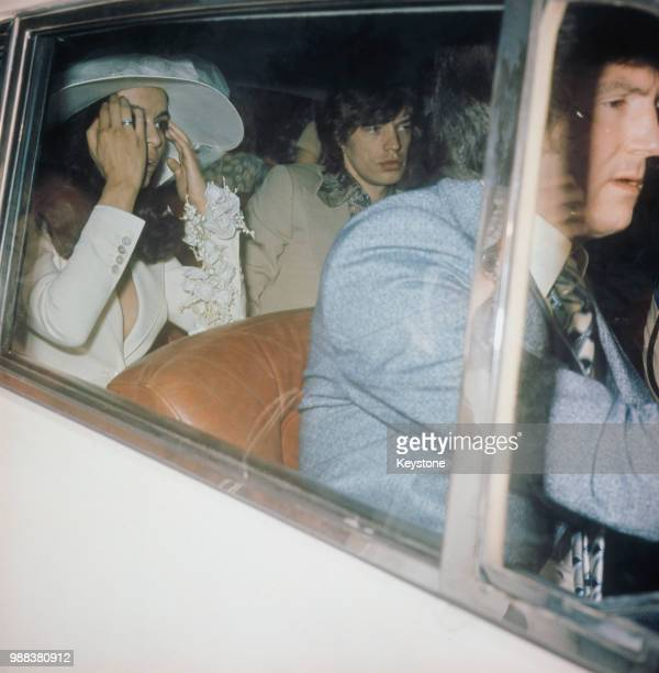 Mick and Bianca Jagger leaving the Church of St Anne after their wedding in St Tropez France 12th May 1971