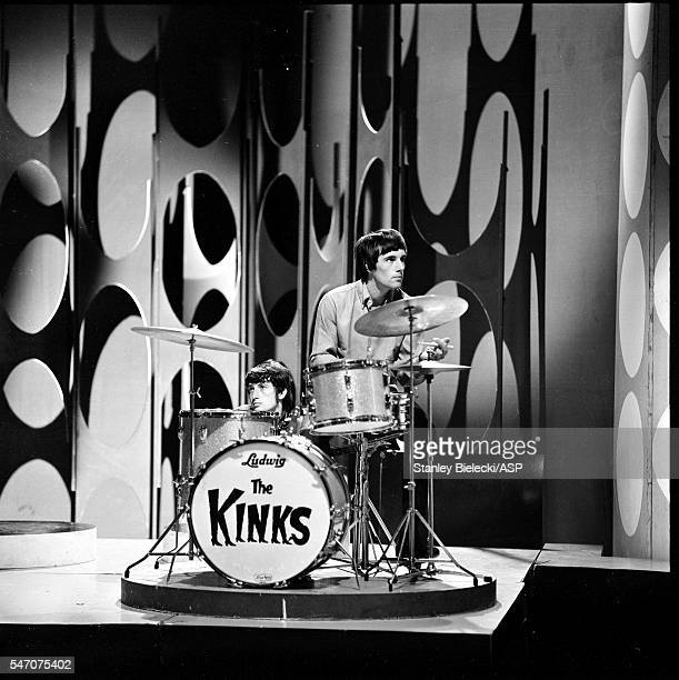 Mick Avory and Peter Quaife of The Kinks on set of Top Of The Pops TV show London 1965